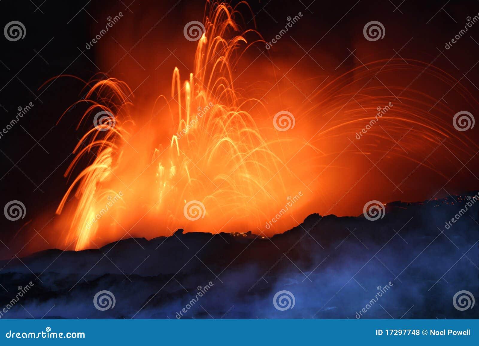 Faire éruption le volcan la nuit
