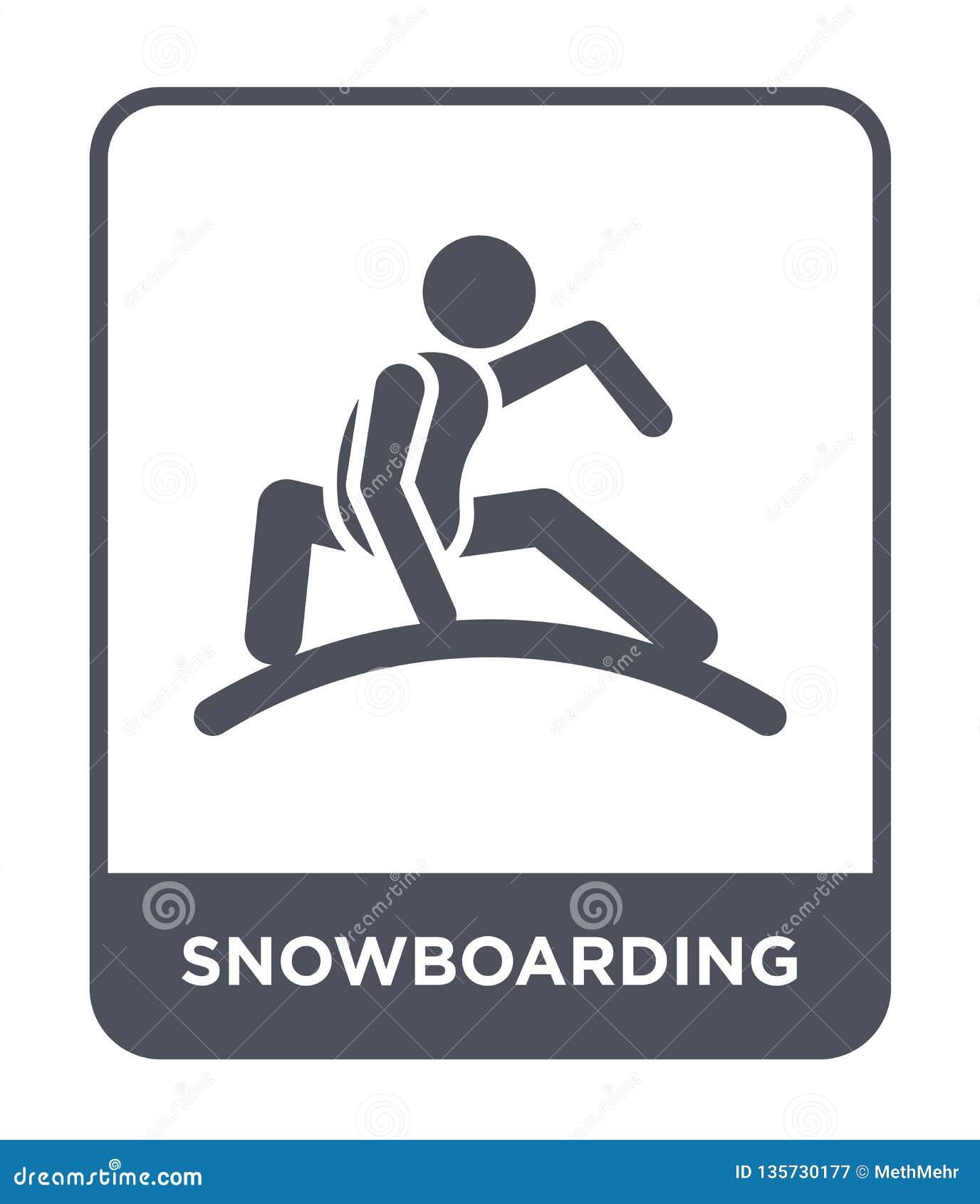Faire du surf des neiges l icône dans le style à la mode de conception icône de snowboarding d isolement sur le fond blanc faisan
