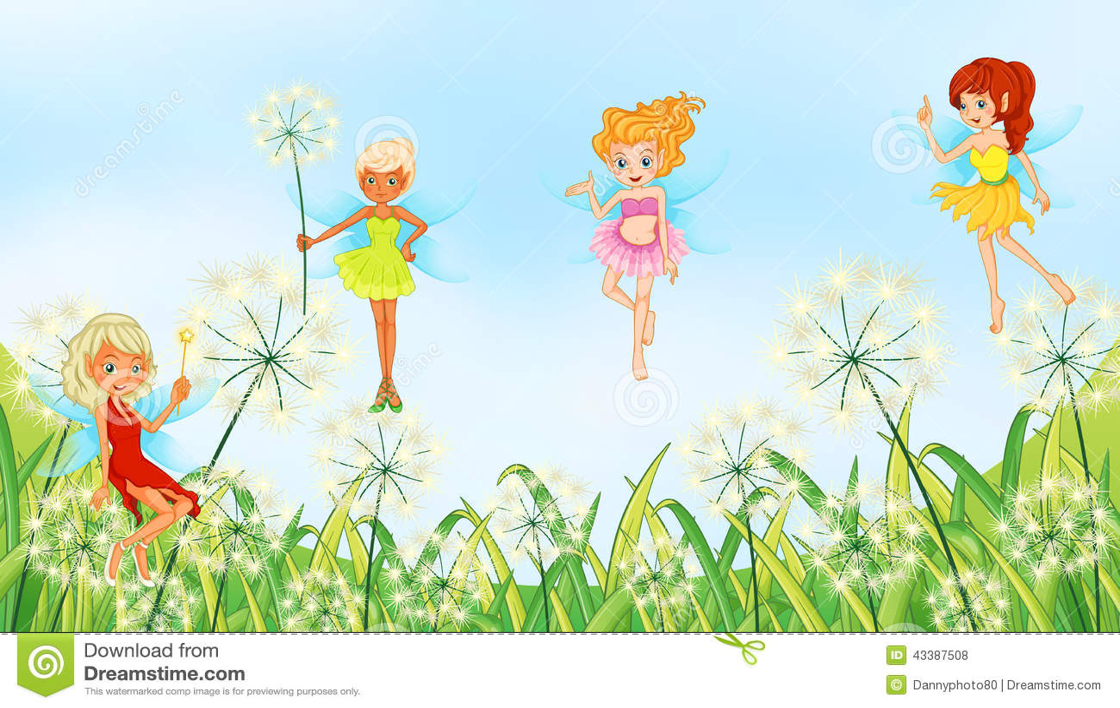 Fairies In The Garden Stock Vector Image 43387508