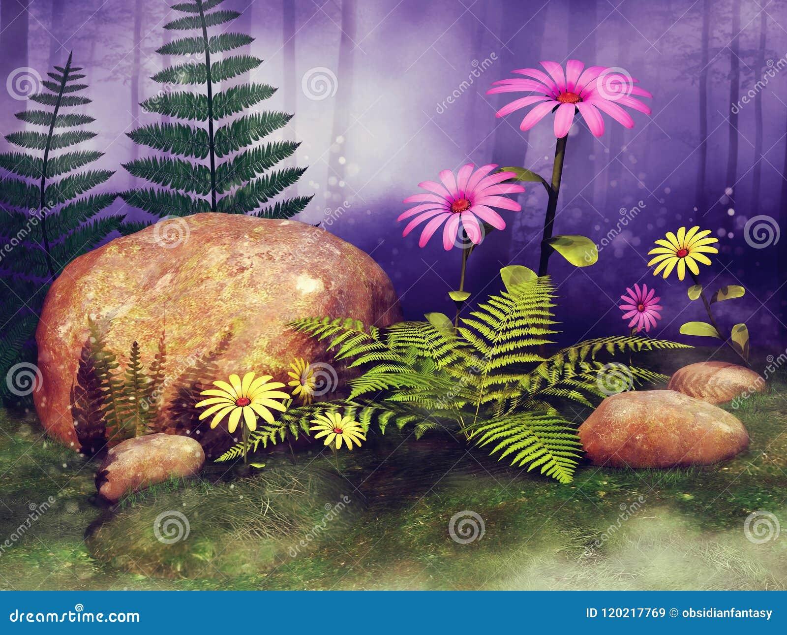 Fairy луг с цветками и утесами