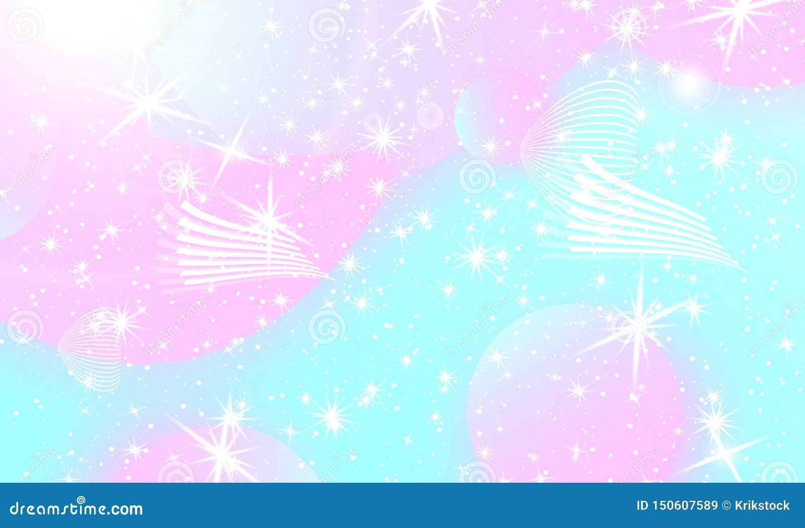 fairy background unicorn pattern mermaid rainbow galaxy fantasy stars pastel colors princess color waves kawaii 150607589