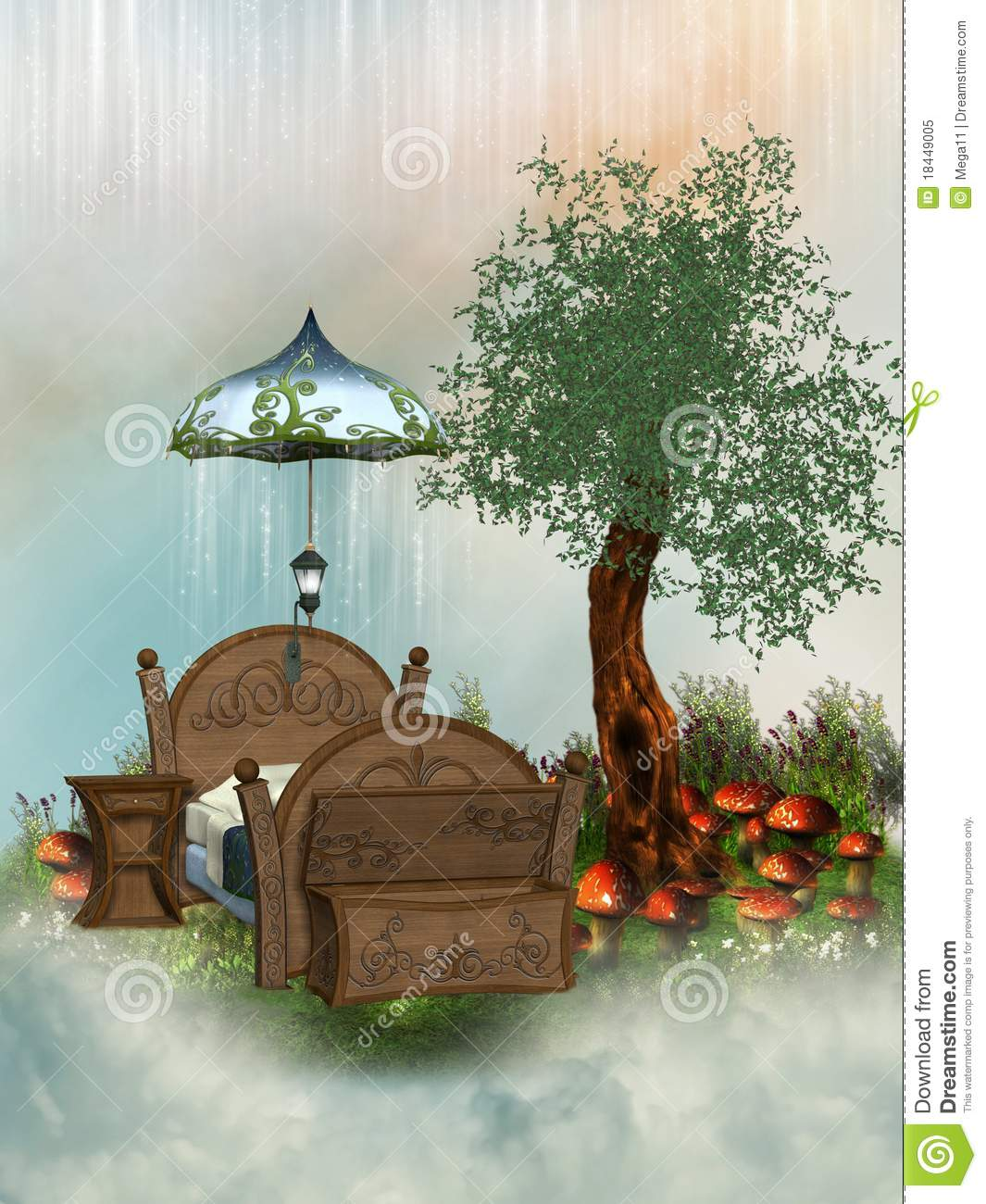 Fairy bed stock illustration image of clouds golden for Fairytale beds