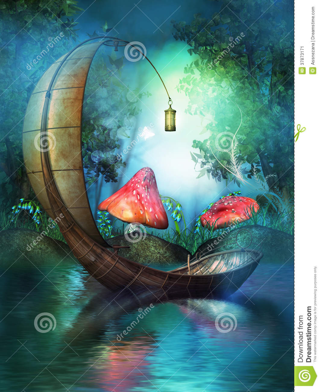 Fairy Boat Stock Illustration Illustration Of Golden
