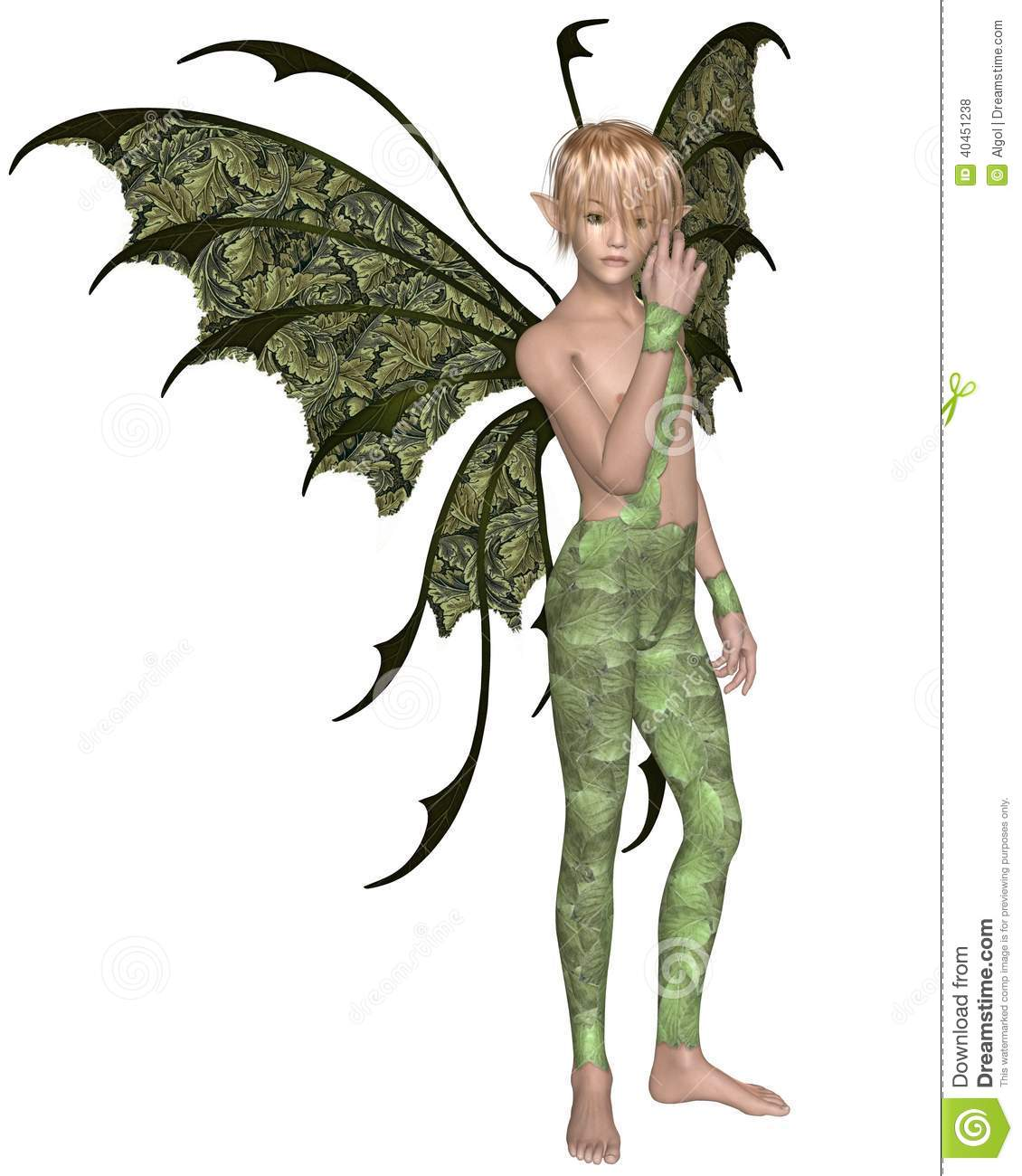 Fairy boy dressed in green leaves with green wings and blonde hair, 3d ...