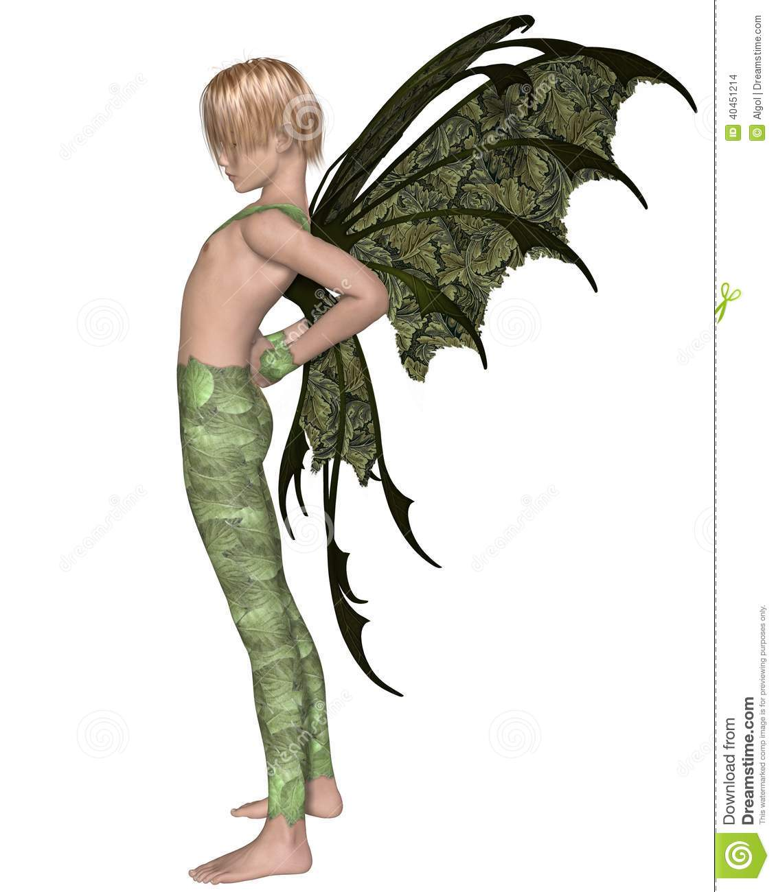 fairy boy in green stretching stock illustration image 40451214