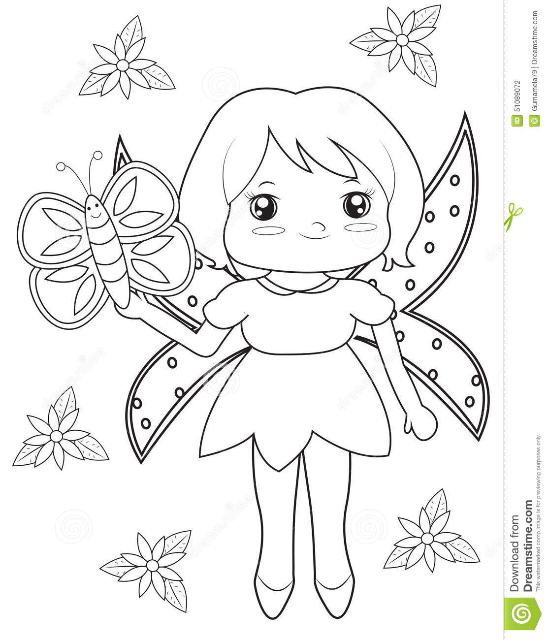 Fairy And Butterfly Coloring Page Stock Illustration