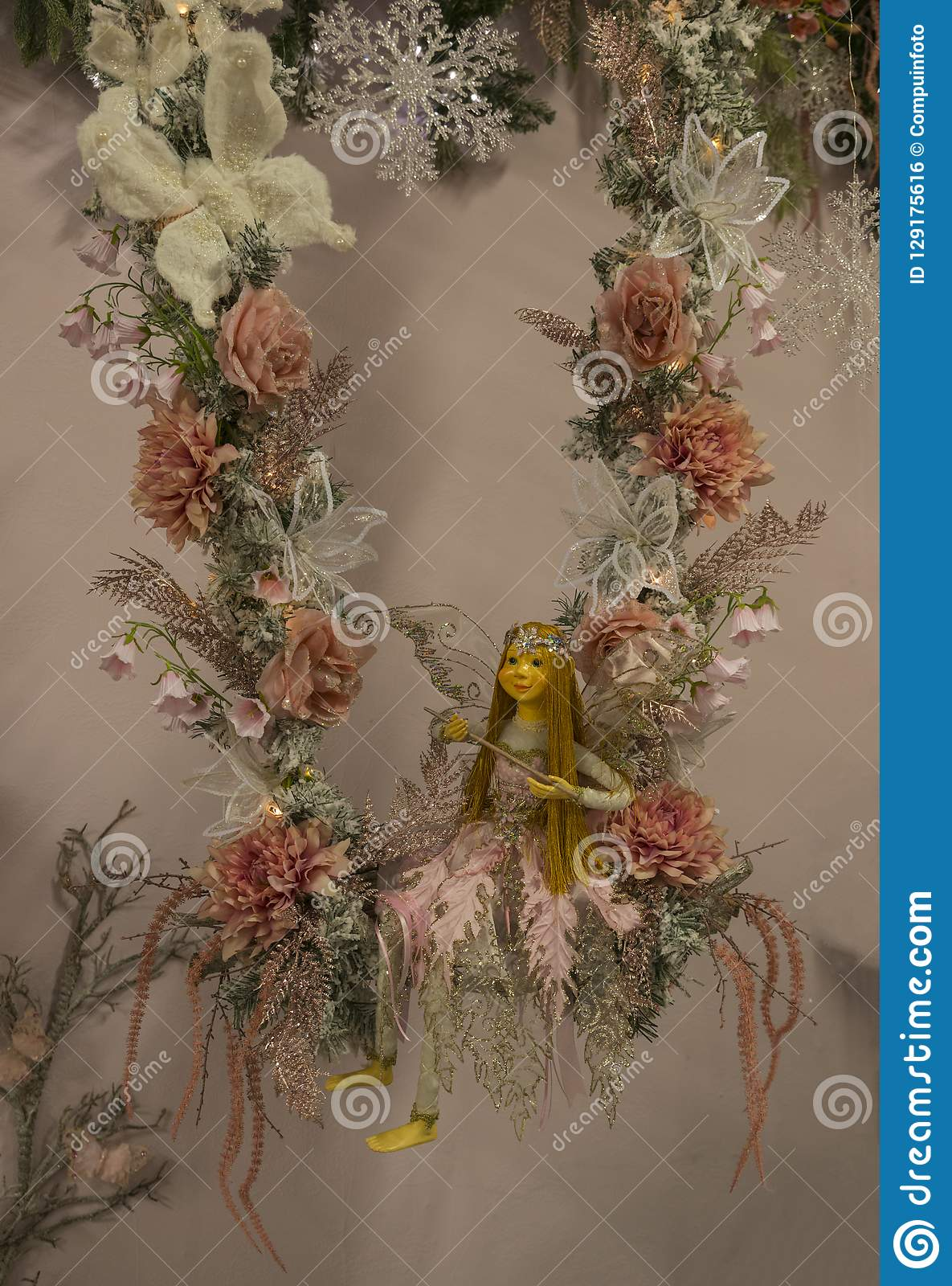 Fairy Christmas Ornaments.Fairy Christmas Decoration In Pastel Stock Photo Image Of