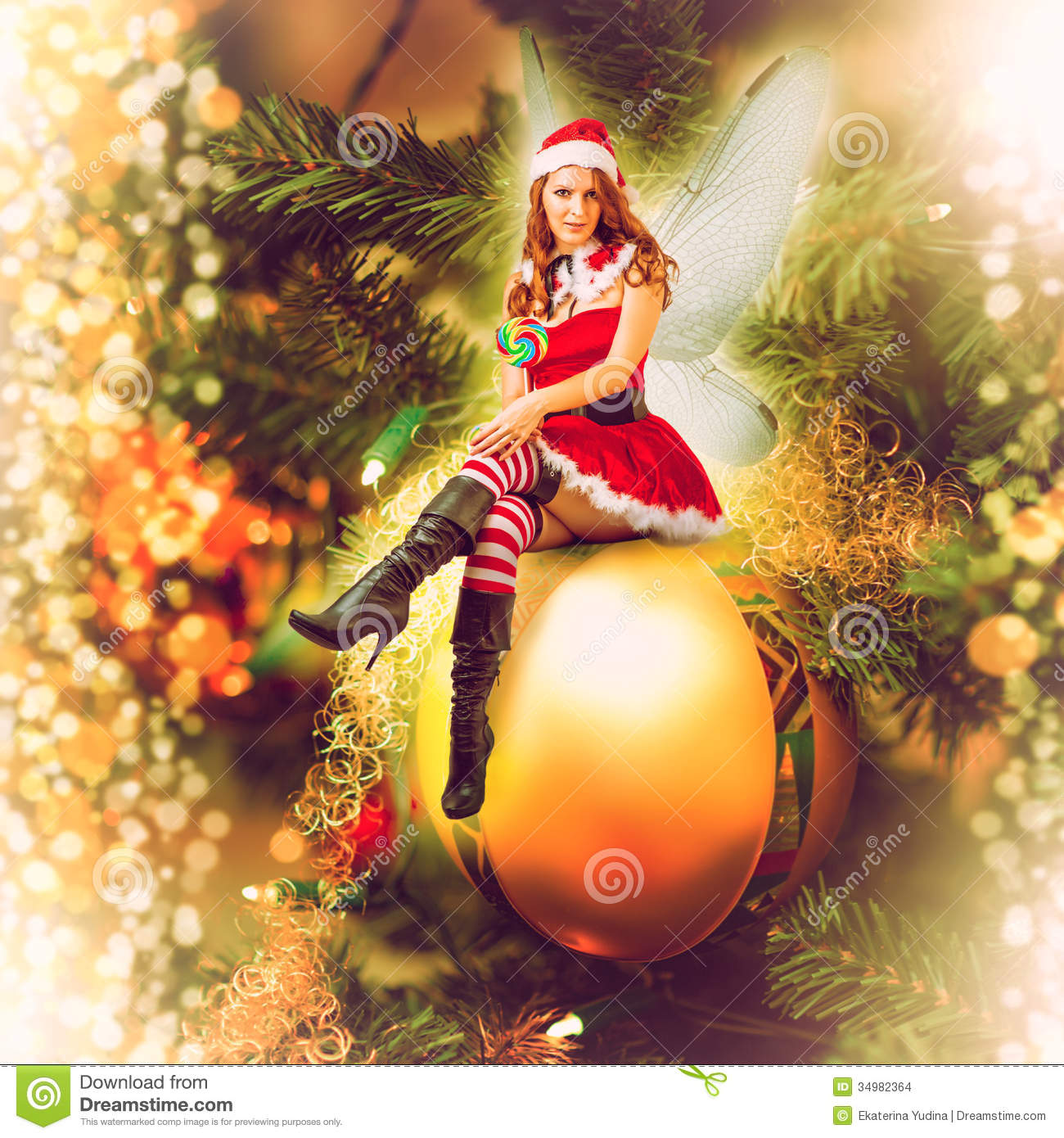Fairy Christmas Woman On A Decorative Ball Stock Images - Image ...