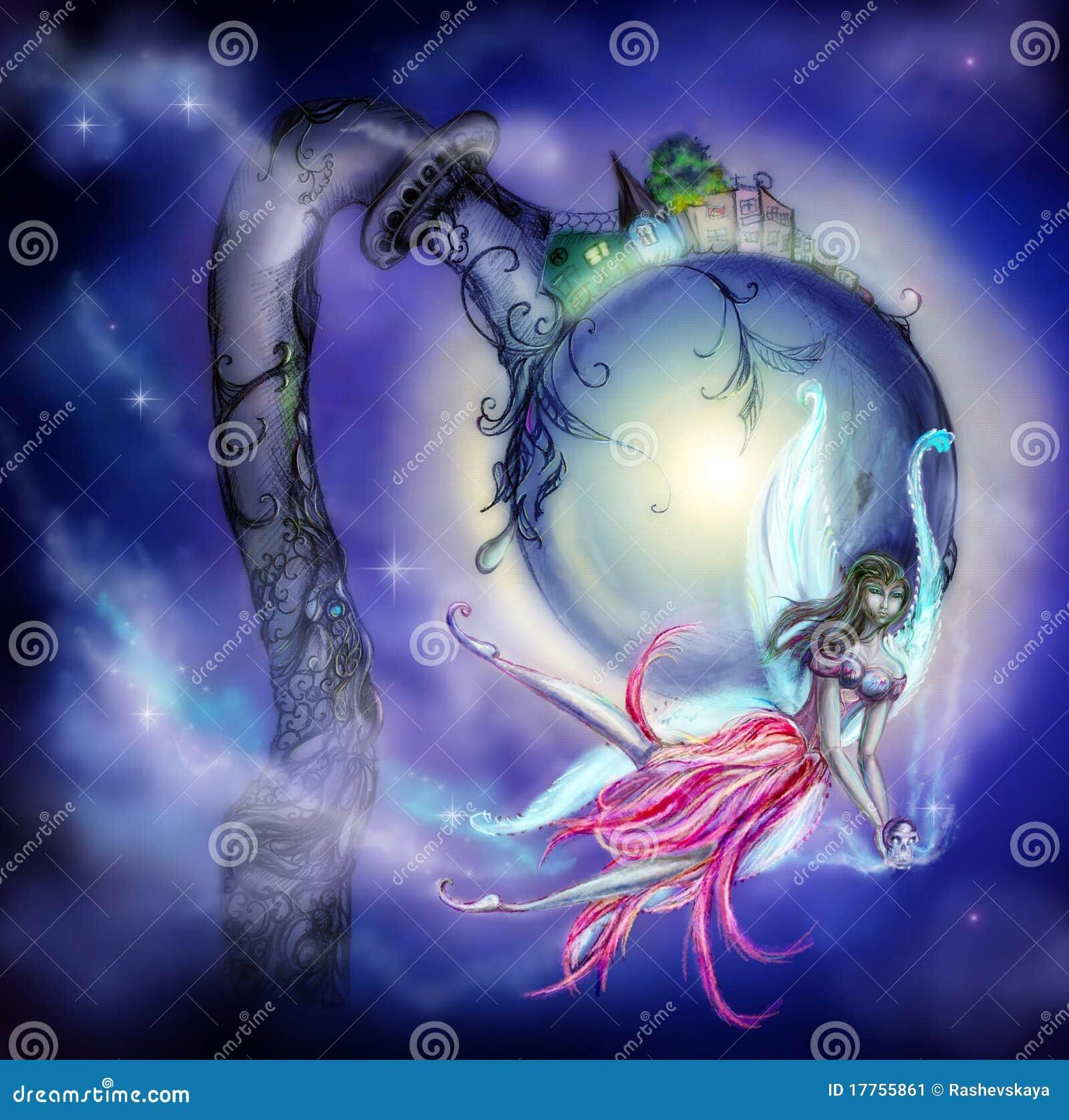 Fairy com um crânio em suas mãos