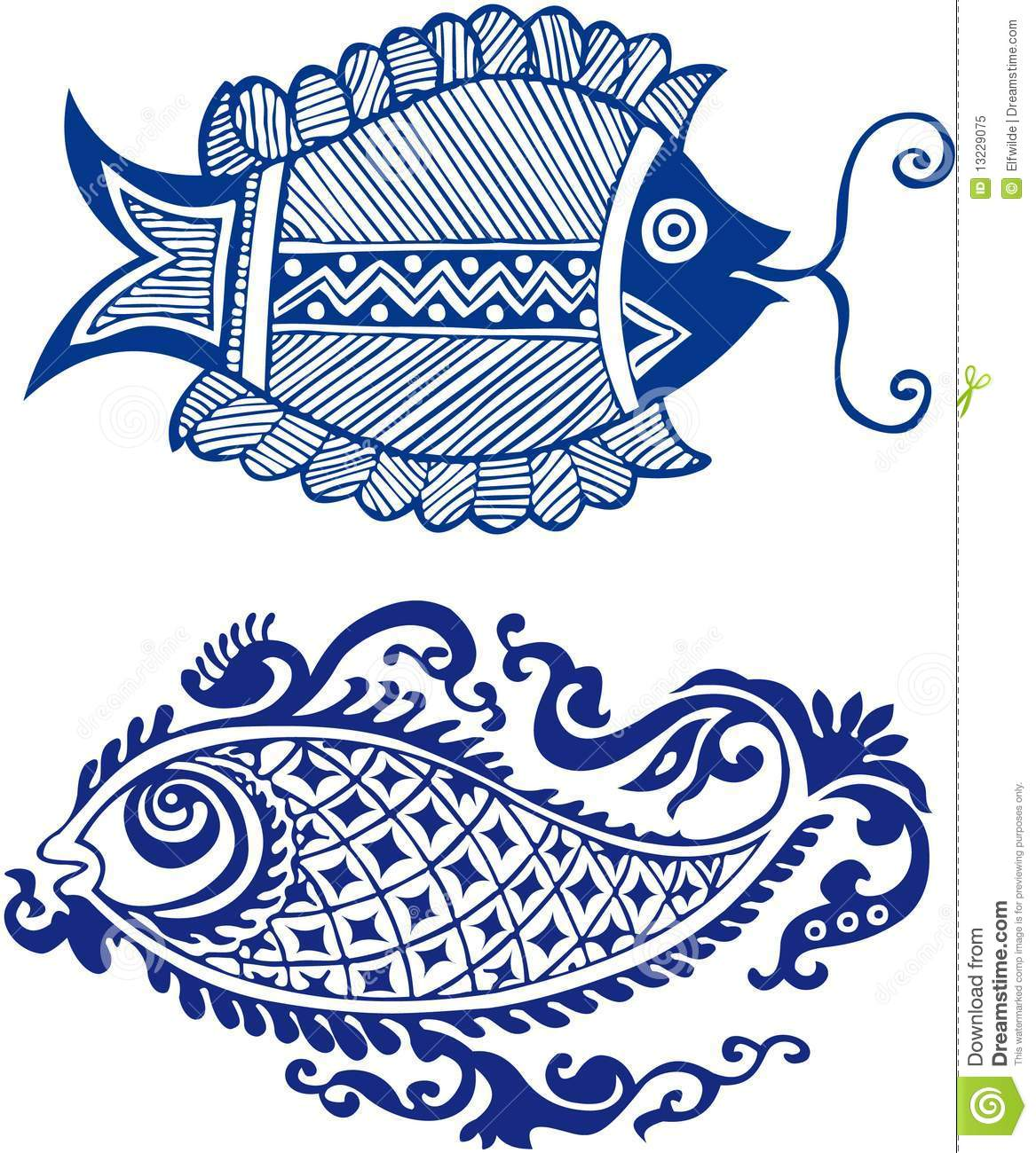 Fairy eastern fish patterns stock illustration for Fishing times free