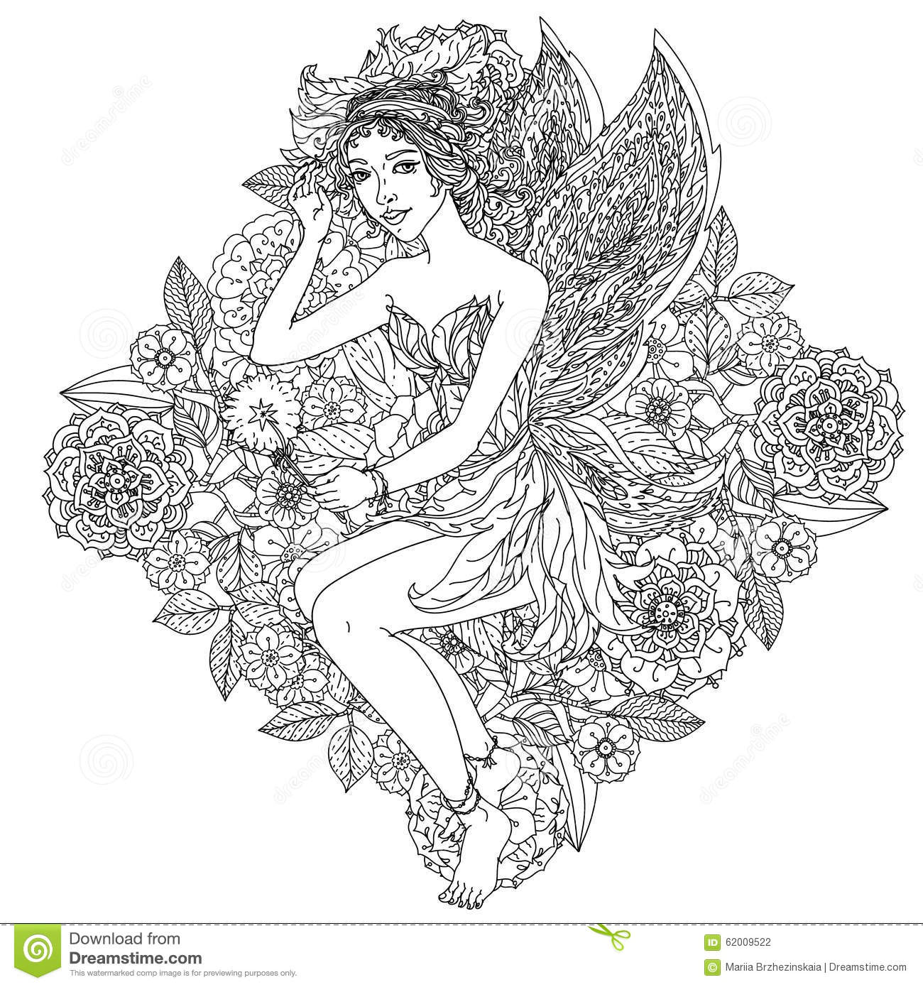 Fairy or elf stock vector. Illustration of black, curly - 62009522