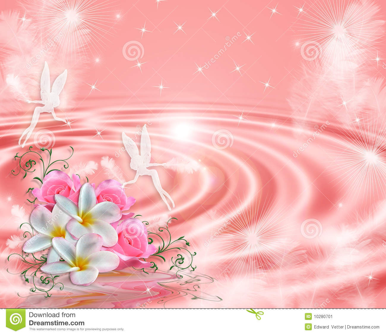 Image and illustration composition floral design with tiny fairies for