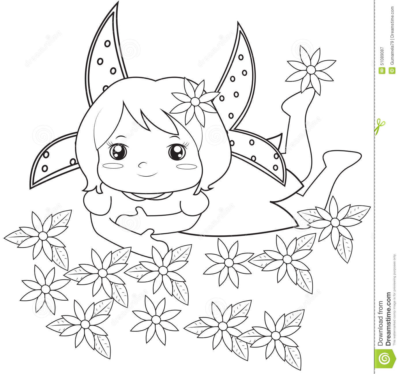 fairy with flowers coloring page all
