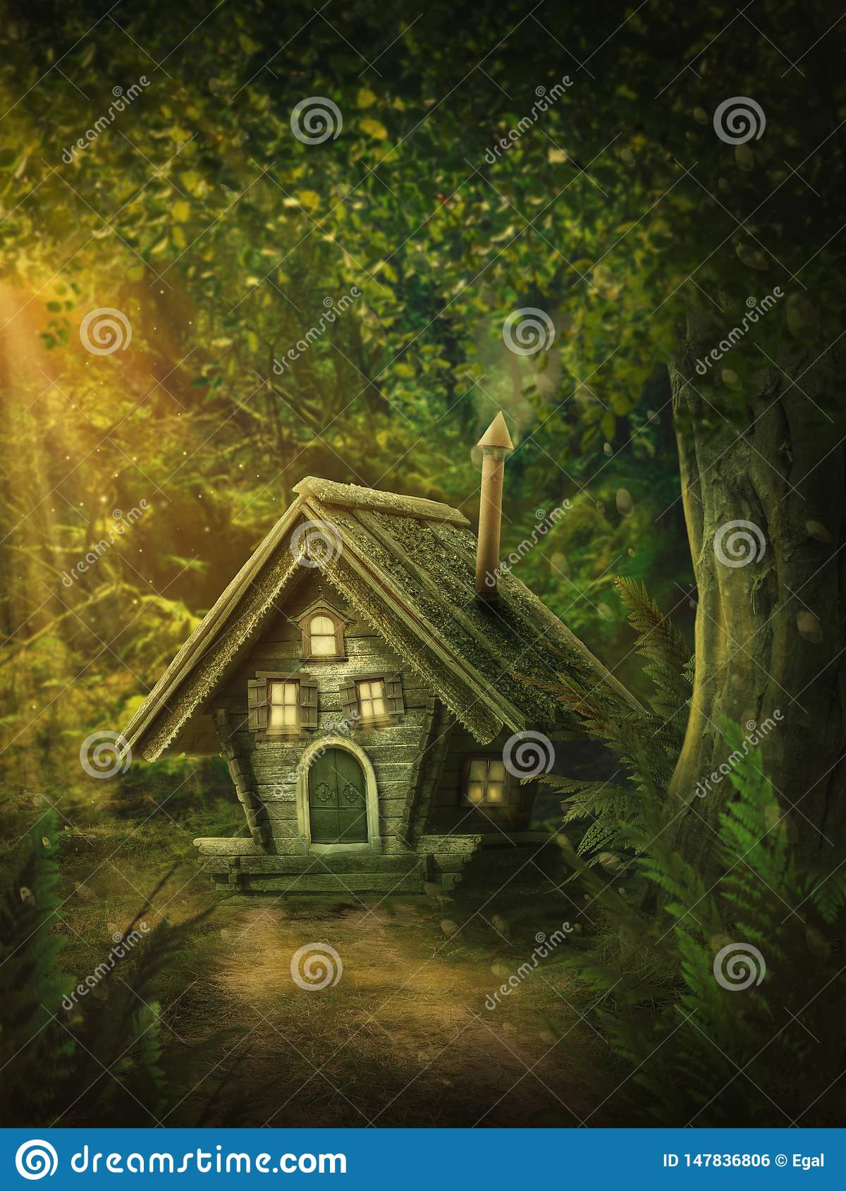 Fairy forest with a house