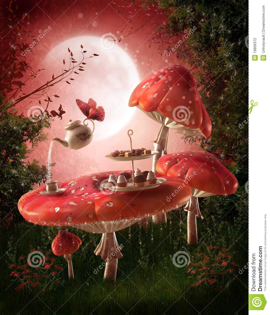 Fairy Garden With Red Mushrooms Stock Photography Image