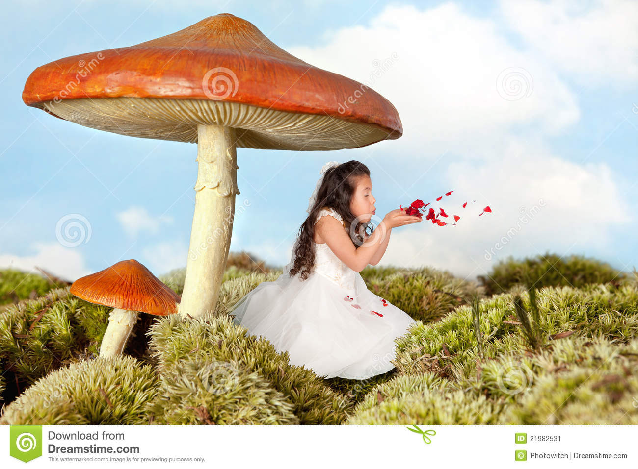 Fairy Girl Blowing Rose Petals Stock Image Image 21982531