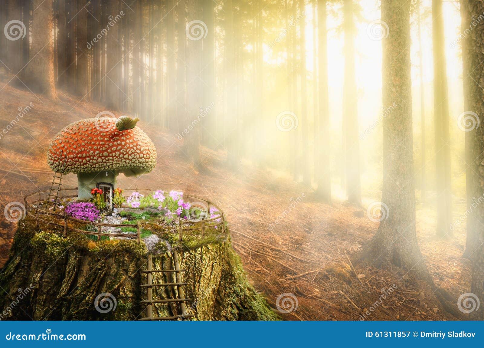 Fairy House Mushroom Stock Illustration