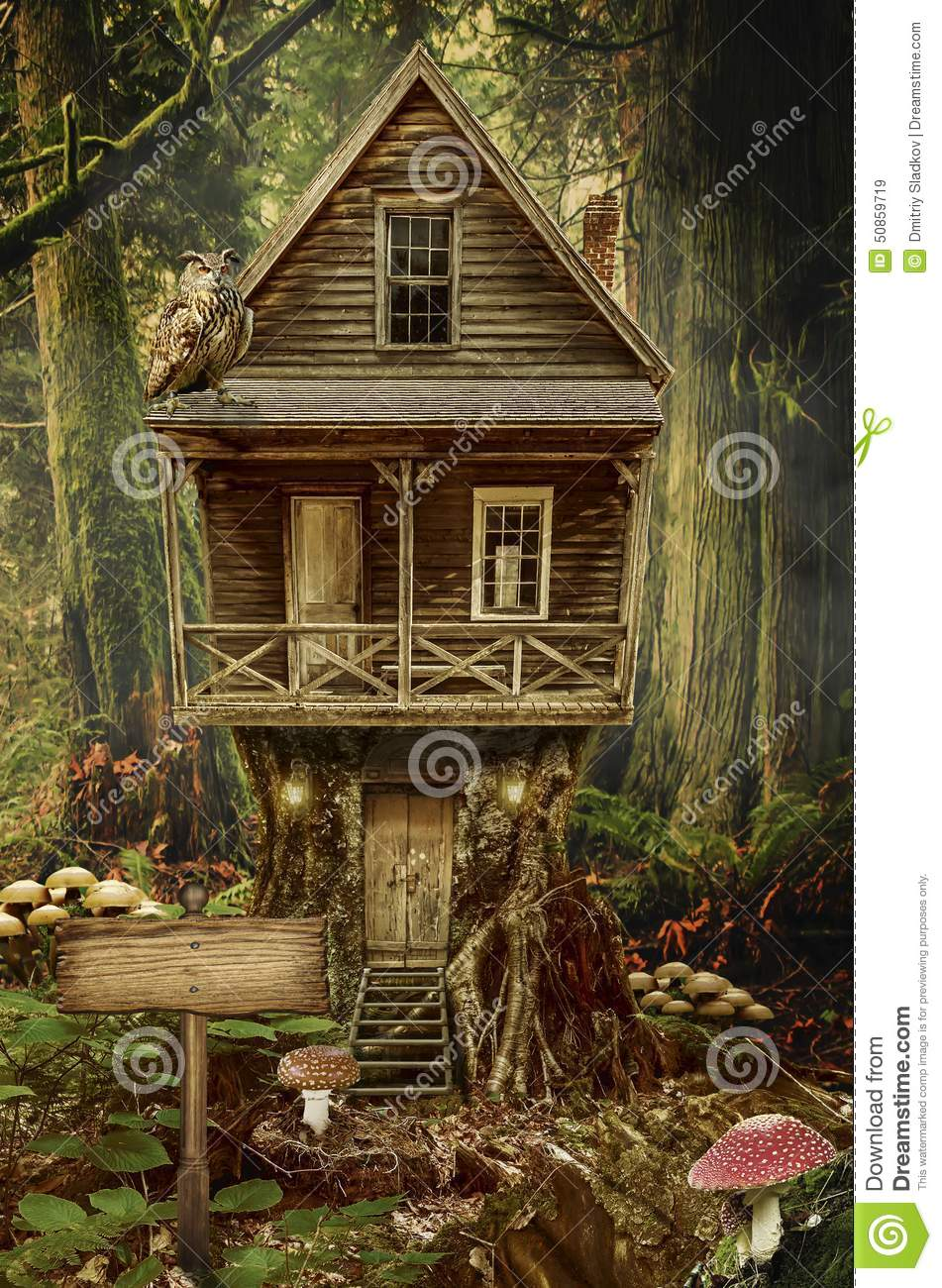 Series fairy house stump a fictional illustration of house and the
