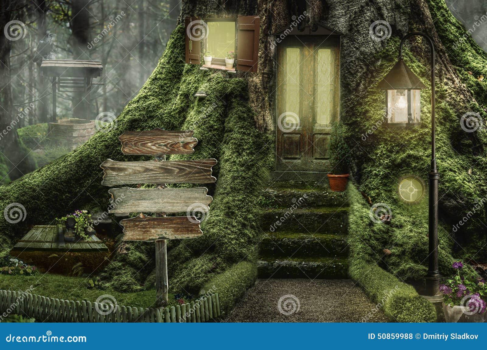 Tree stump fairy house - Collage Fairy Illustration Stump