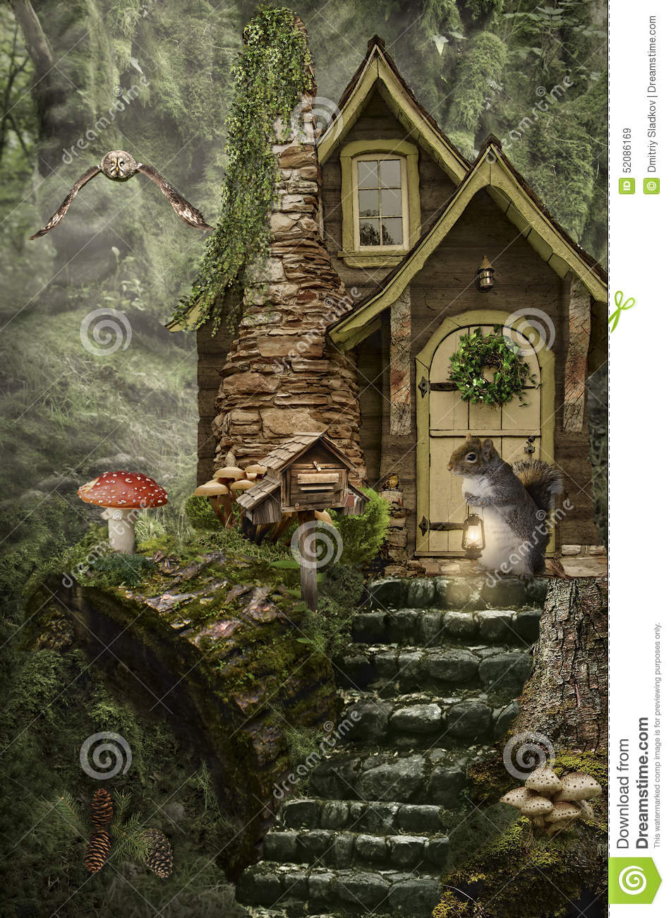 Fairy House Stump Stock Illustration Illustration Of