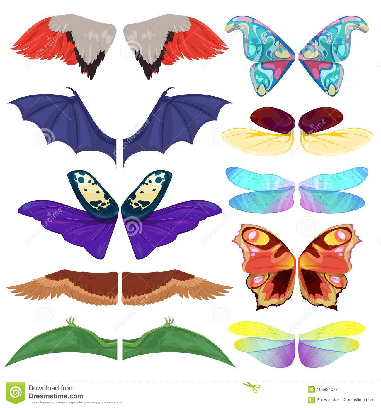Fairy insect wings vector flying kids carnival costume winged bird bat and butterfly insects with wingspan for halloween