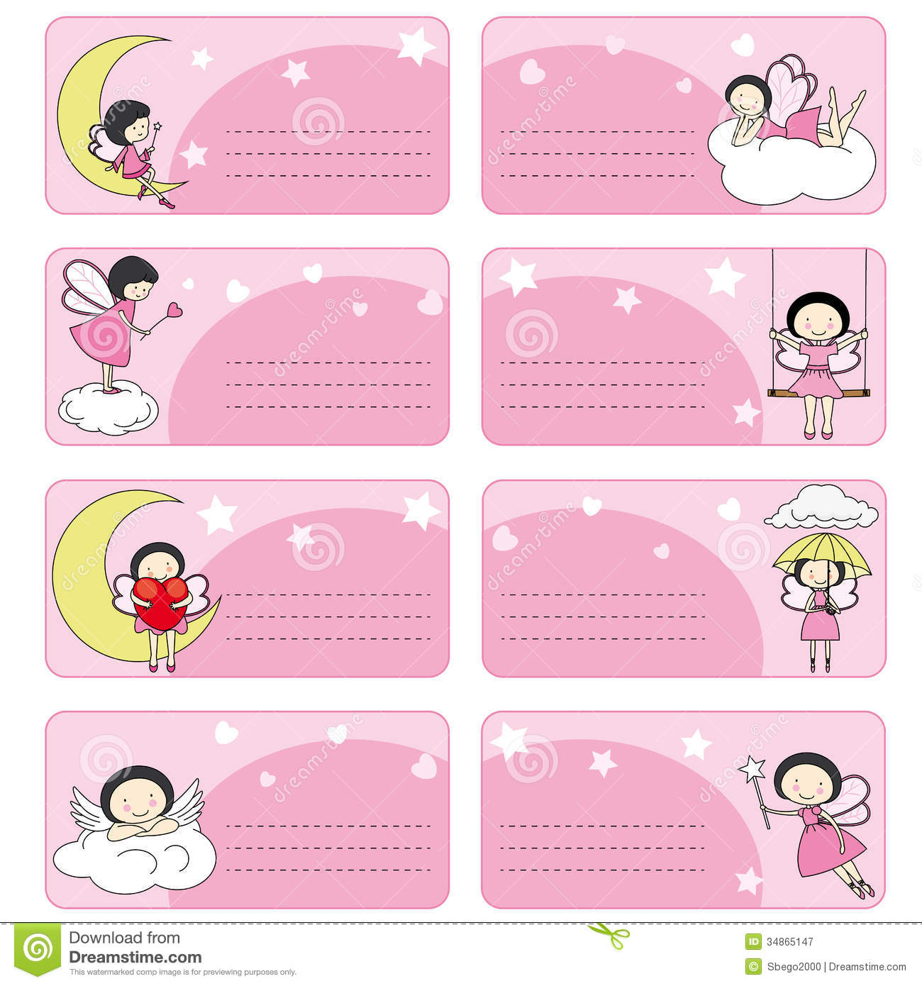 Fairy labels stock vector. Image of fairy, signs, cloud ...