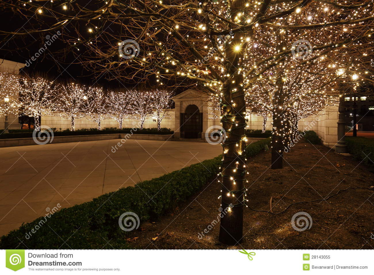 Fairy Lights In Courtyard Royalty Free Stock Photo Image