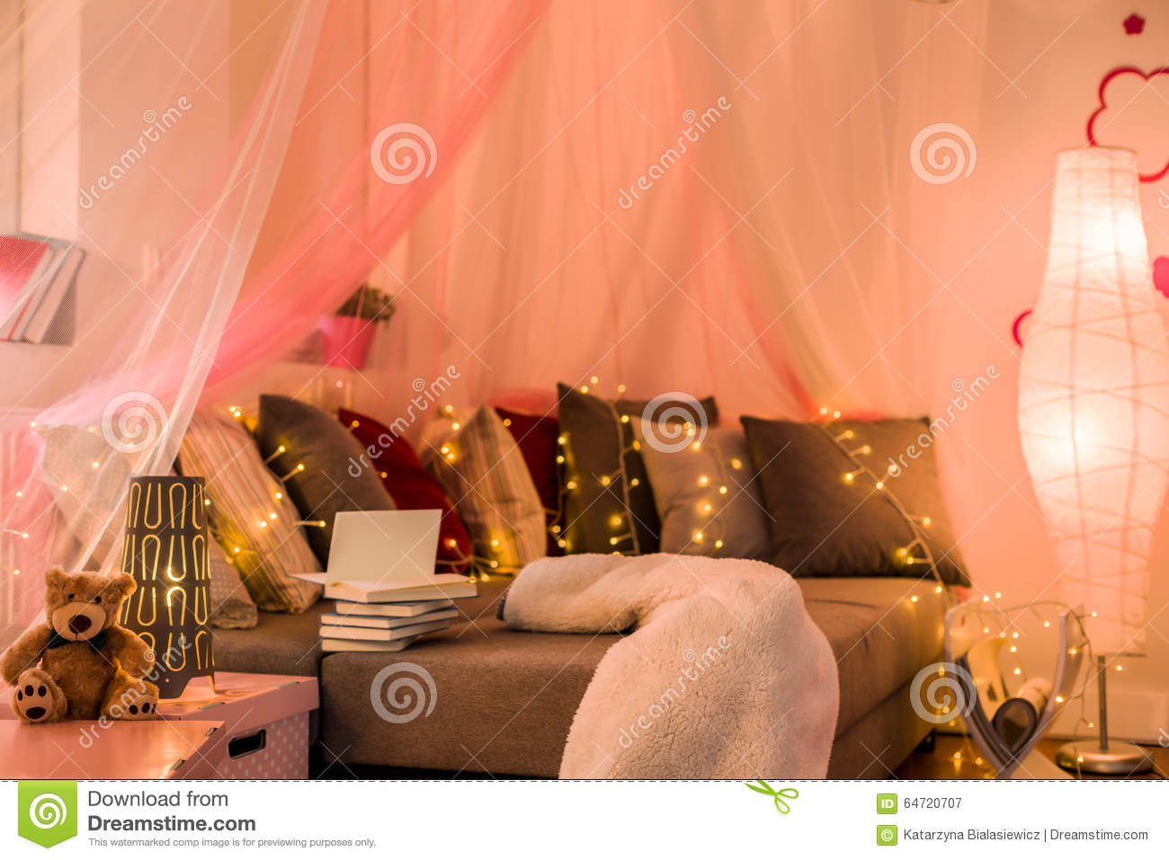 Royalty Free Stock Photo. Download Fairy Lights In Teen Bedroom ...