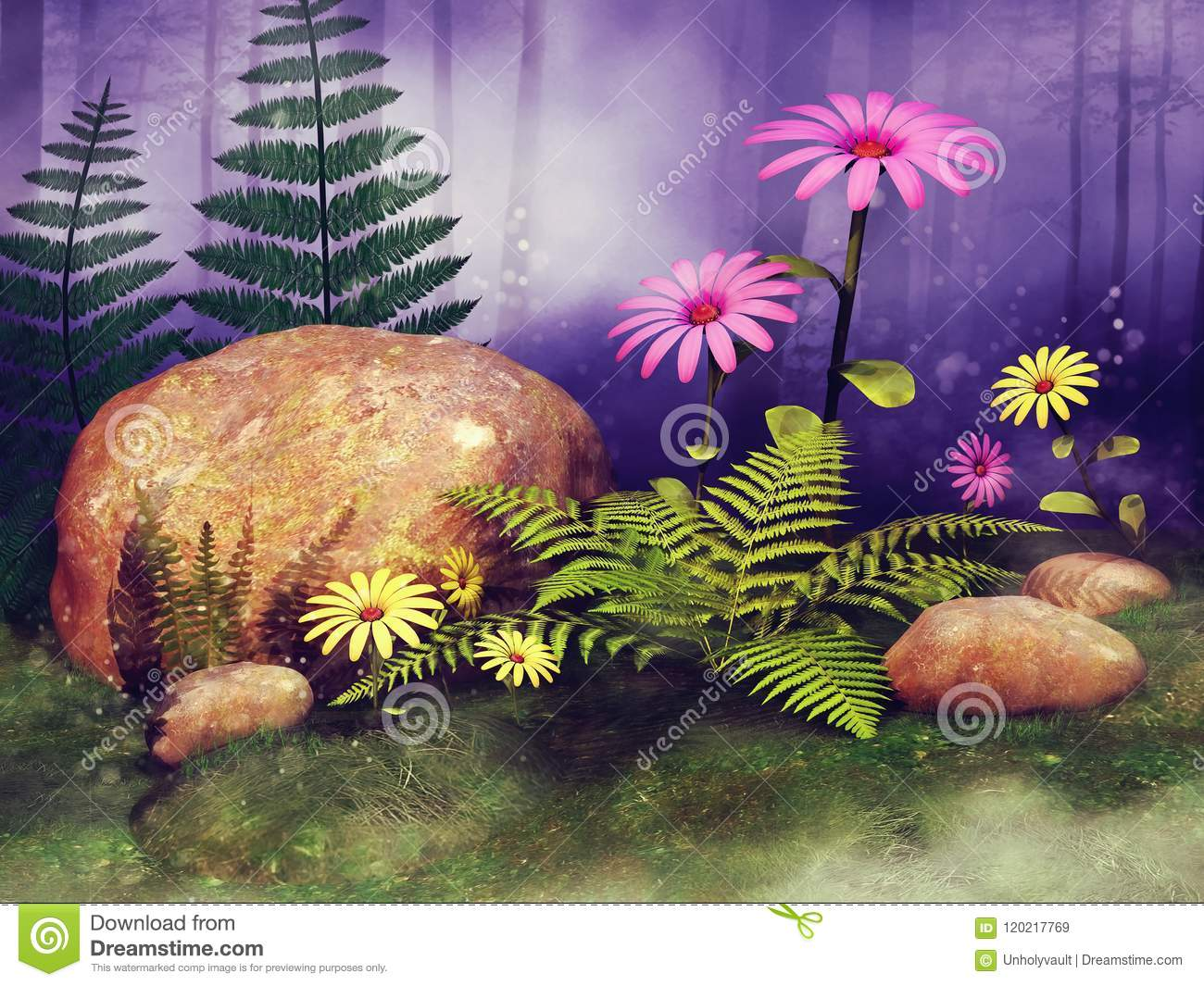 Fairy meadow with flowers and rocks