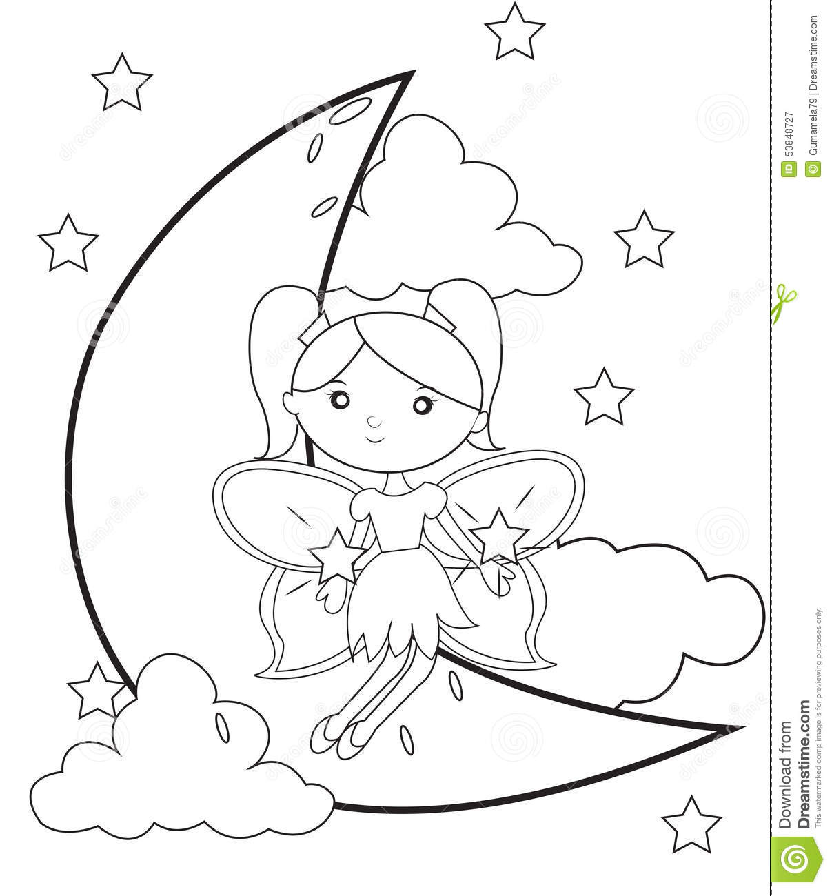Moon coloring pages for preschoolers - Royalty Free Illustration Download Fairy On The Moon Coloring Page