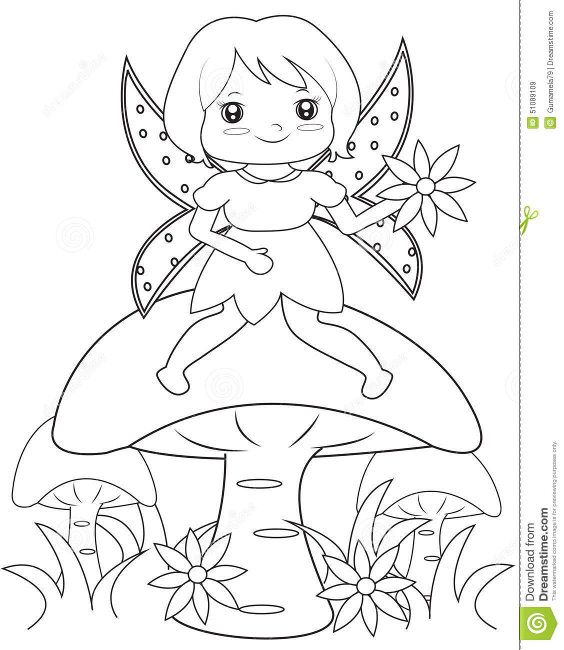 Fairy on a mushroom coloring page, useful as coloring book for kids.