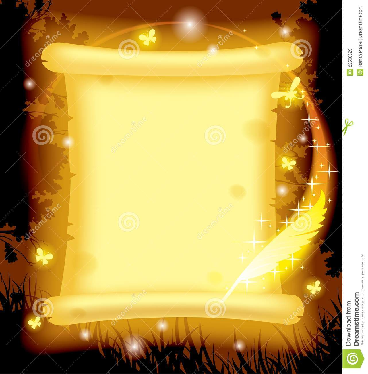 fairy parchment and magic pen royalty free stock images
