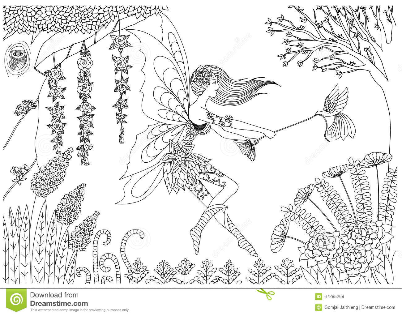 Fairy Is Playing With Bird In The Forest Design For