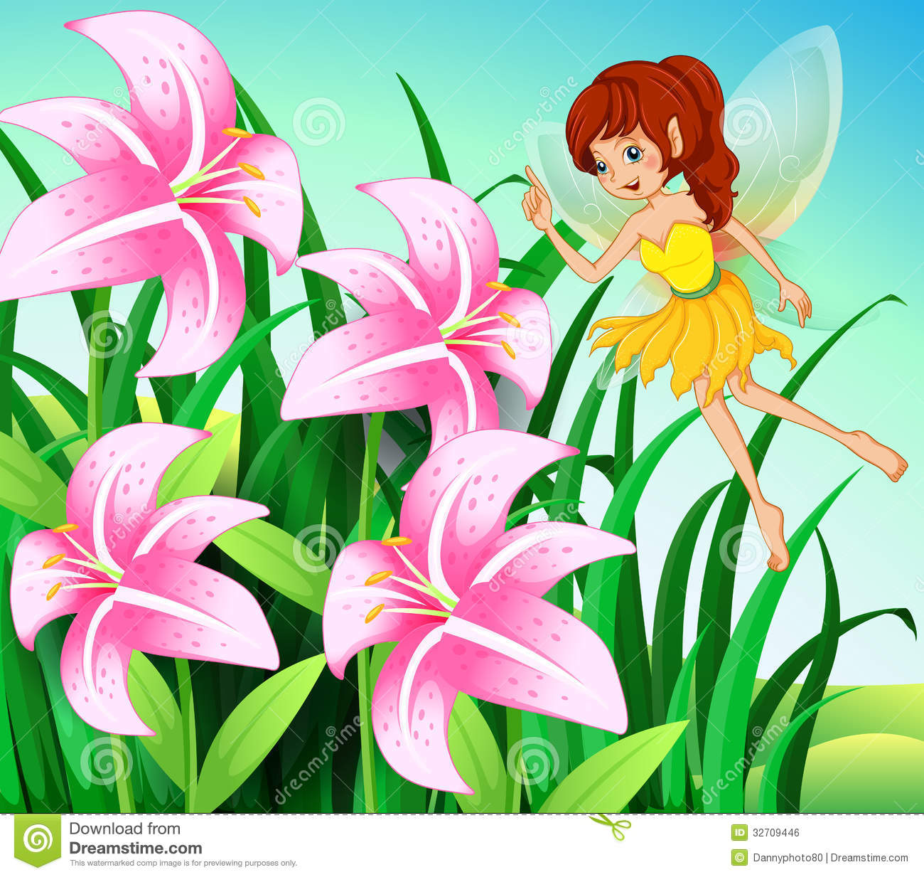 Pink Fairy With Flowers Stock Illustration Illustration Of Folklore