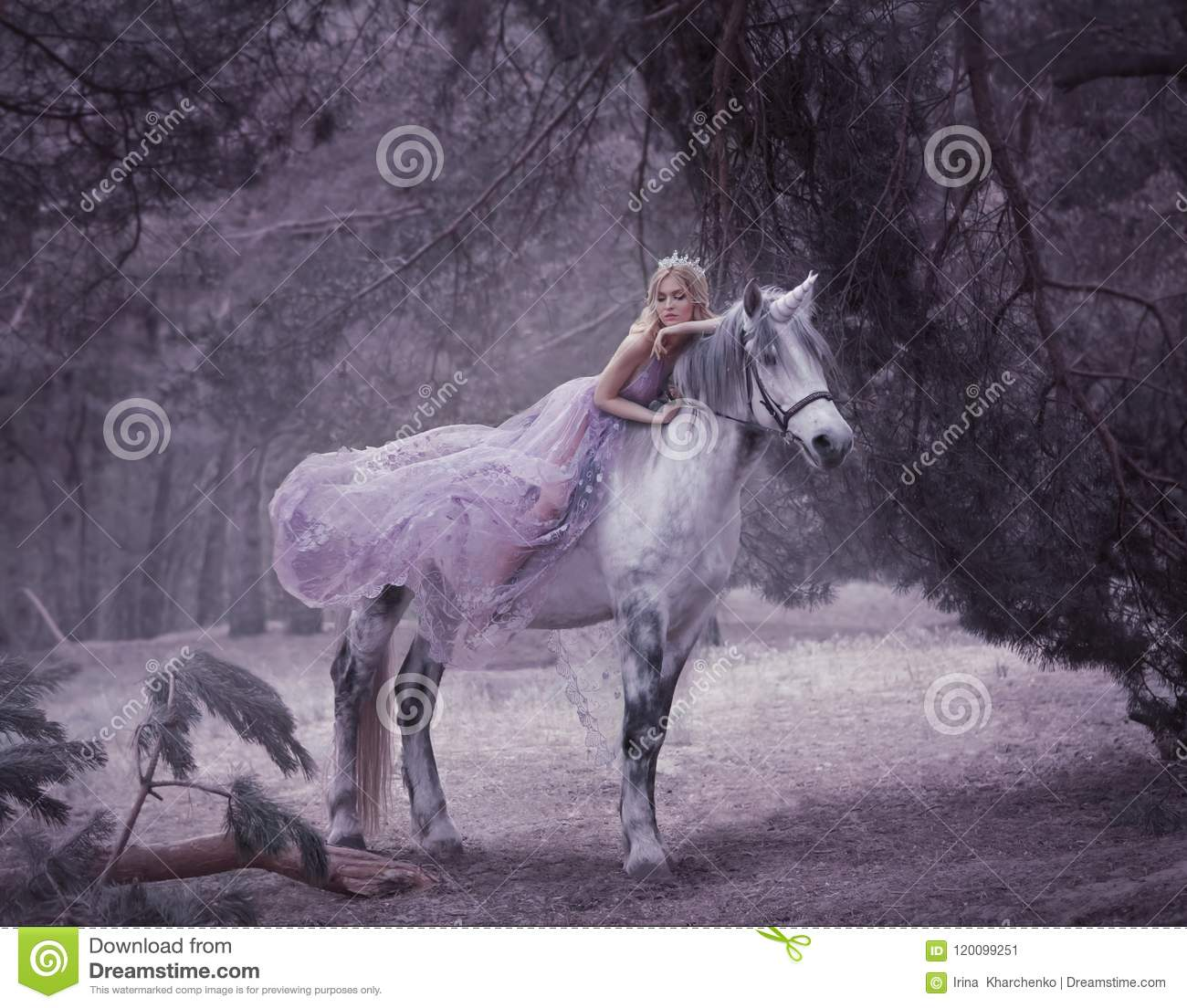 Download A Fairy In A Purple, Transparent Dress With A Long Flying Train Lies On A Unicorn. Sleeping Beauty. Blonde Girl Walking Stock Image - Image of beauty, blue: 120099251