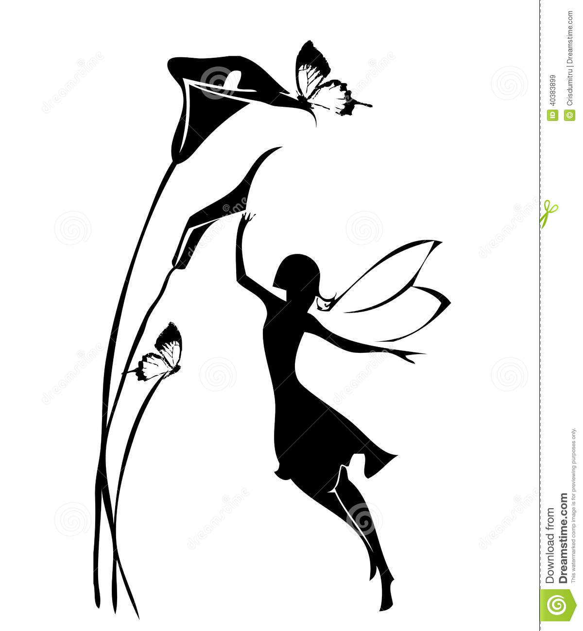 fairy silhouette stock illustration image 40383899