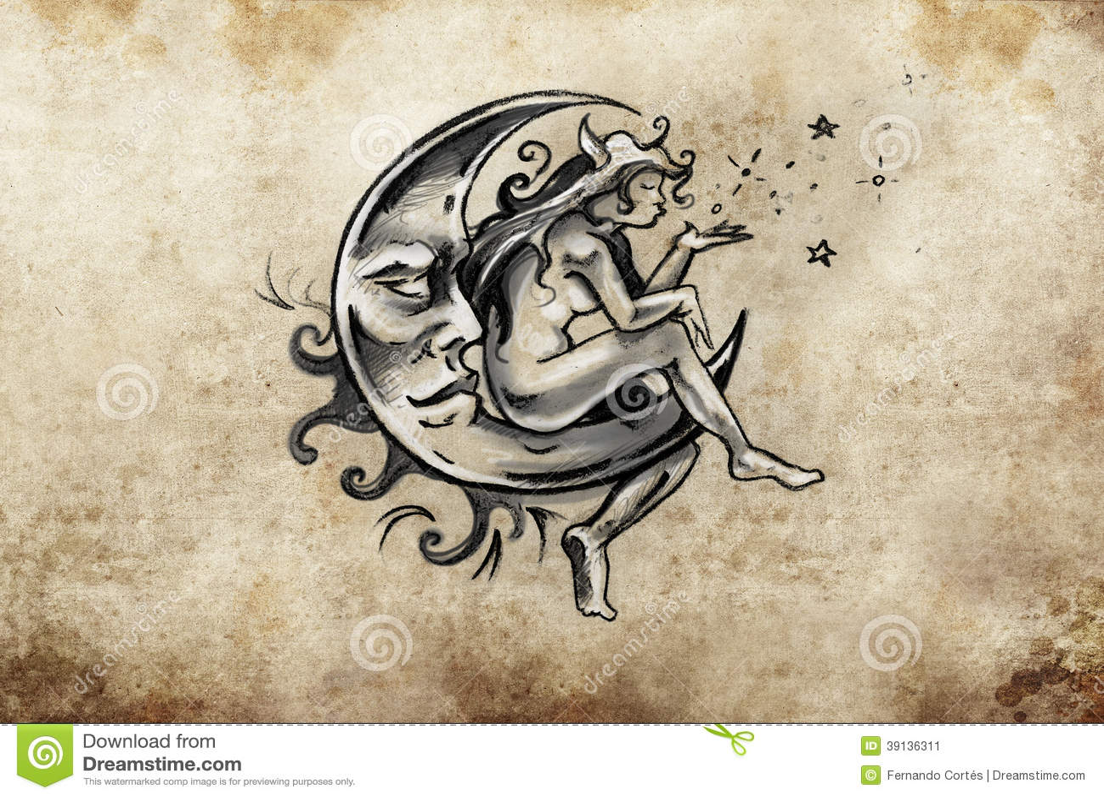 Fairy Sitting On The Moon Tattoo Sketch Handmade Design Over V Stock Illustration Image