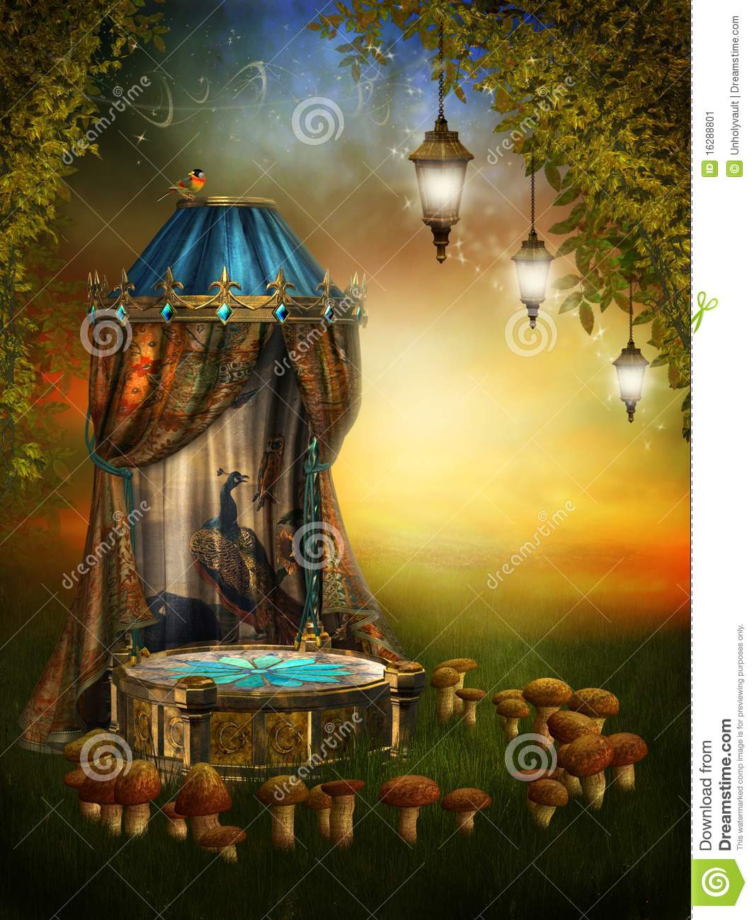 Fairy stage with lamps