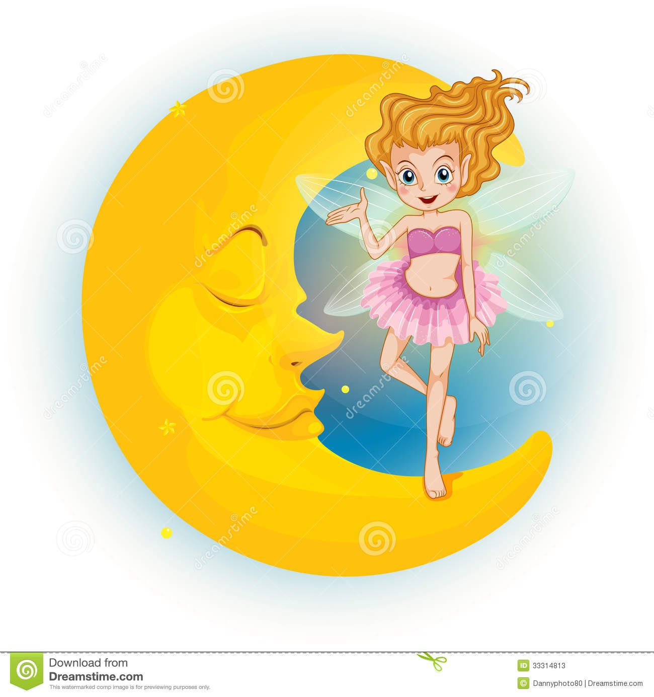 Of a fairy standing on a sleeping half moon on a white background