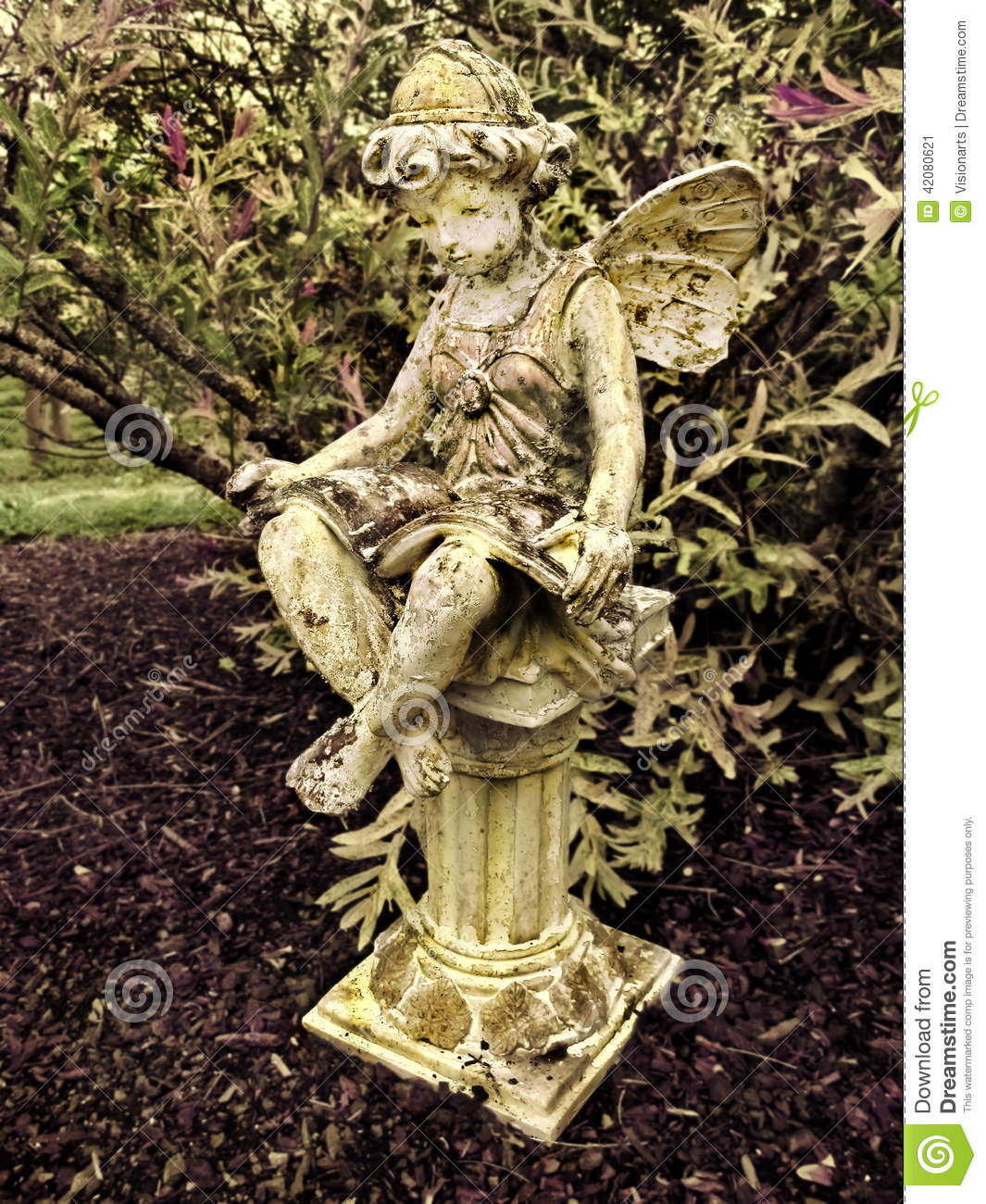 Fairy statue on pillar in garden stock photo image 42080621 Reading fairy garden statue