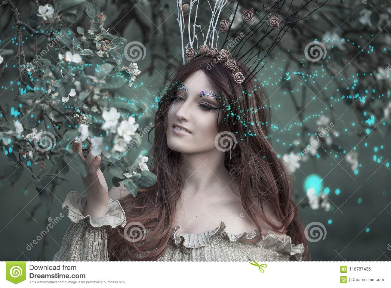 Fairy-tail forest nymph wearing crown, beautiful woman at spring garden, vintage dreamy fashion style