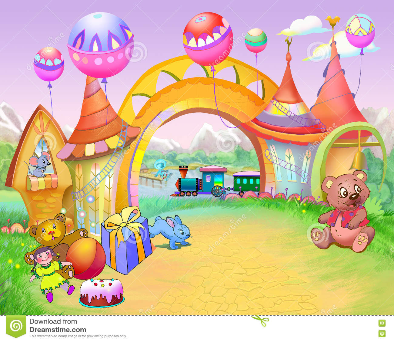 Fairy Tale Arch In Childhood Road Stock Illustration ...