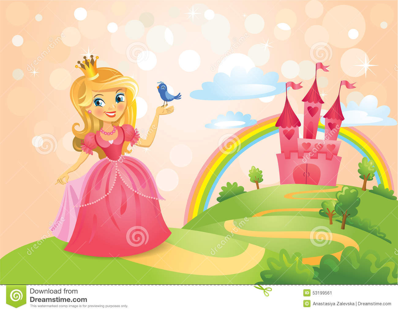 Fairy Tale Castle And Beautiful Princess Stock Vector