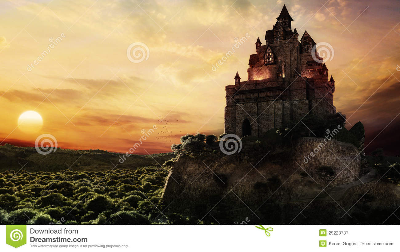 Fairy Tale Castle In The Sunset
