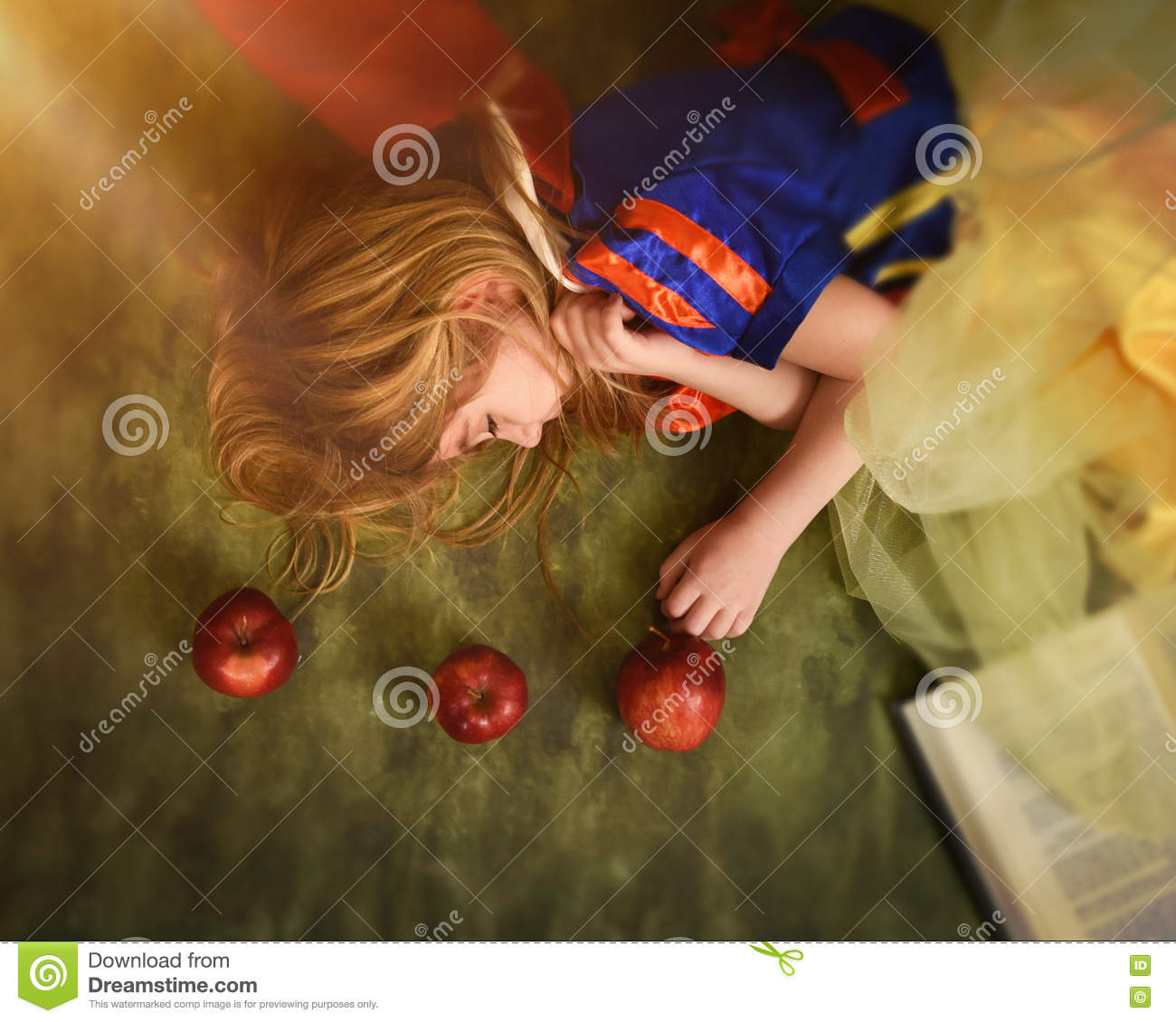 Fairy Tale Child Sleeping with Apple