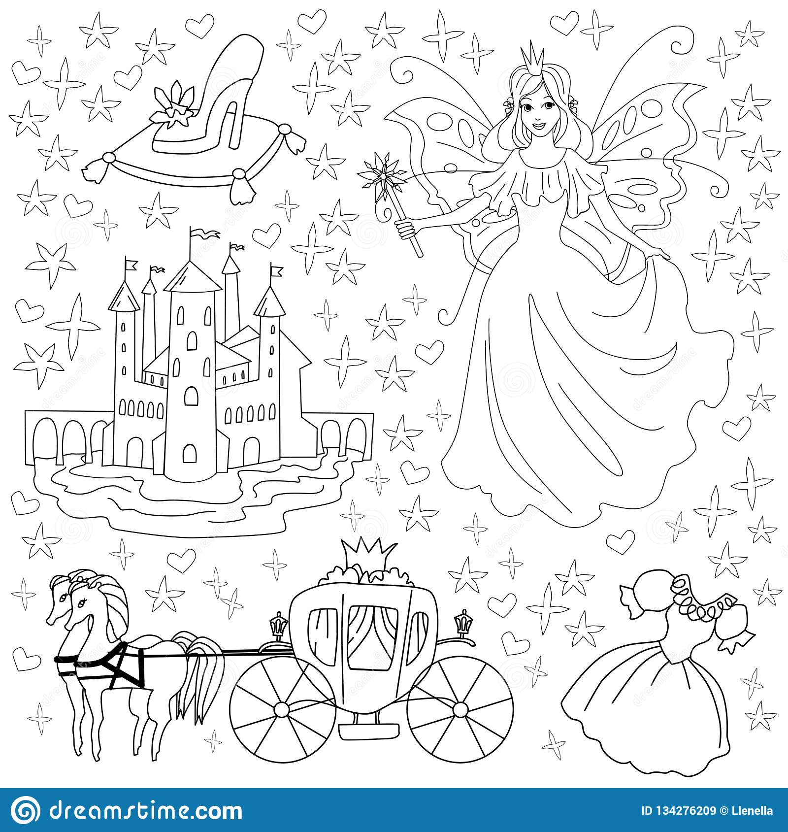 Fairy Tale Coloring Page For Kids Vector Illustration Of Princess