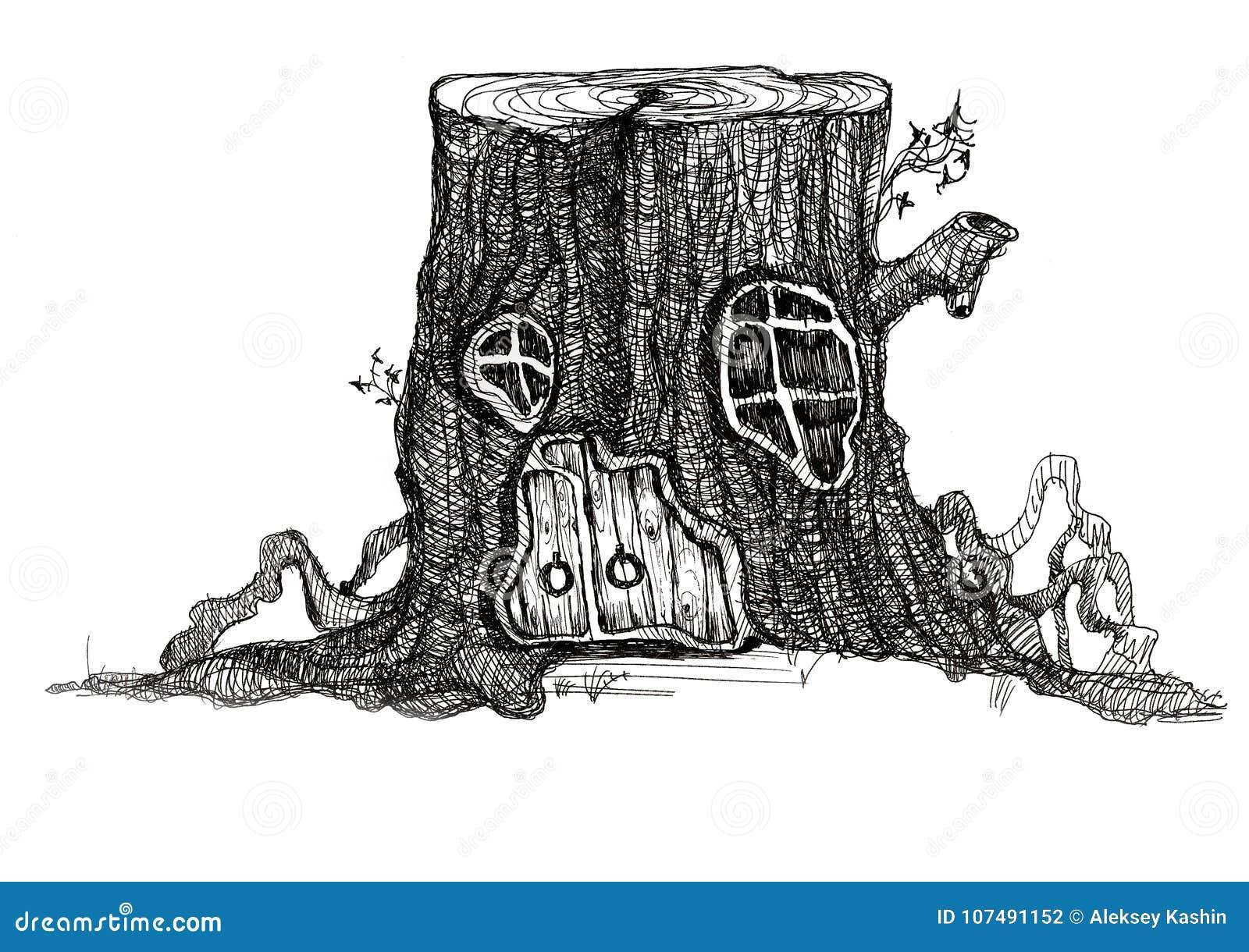 Fairy-tale House In A Tree Stump Stock Illustration