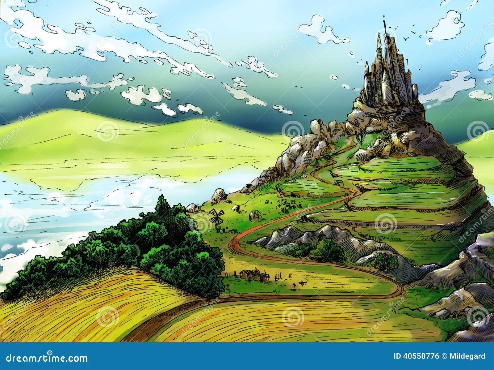 Castle Plans Fairy Tale Landscape With Castle Stock Illustration