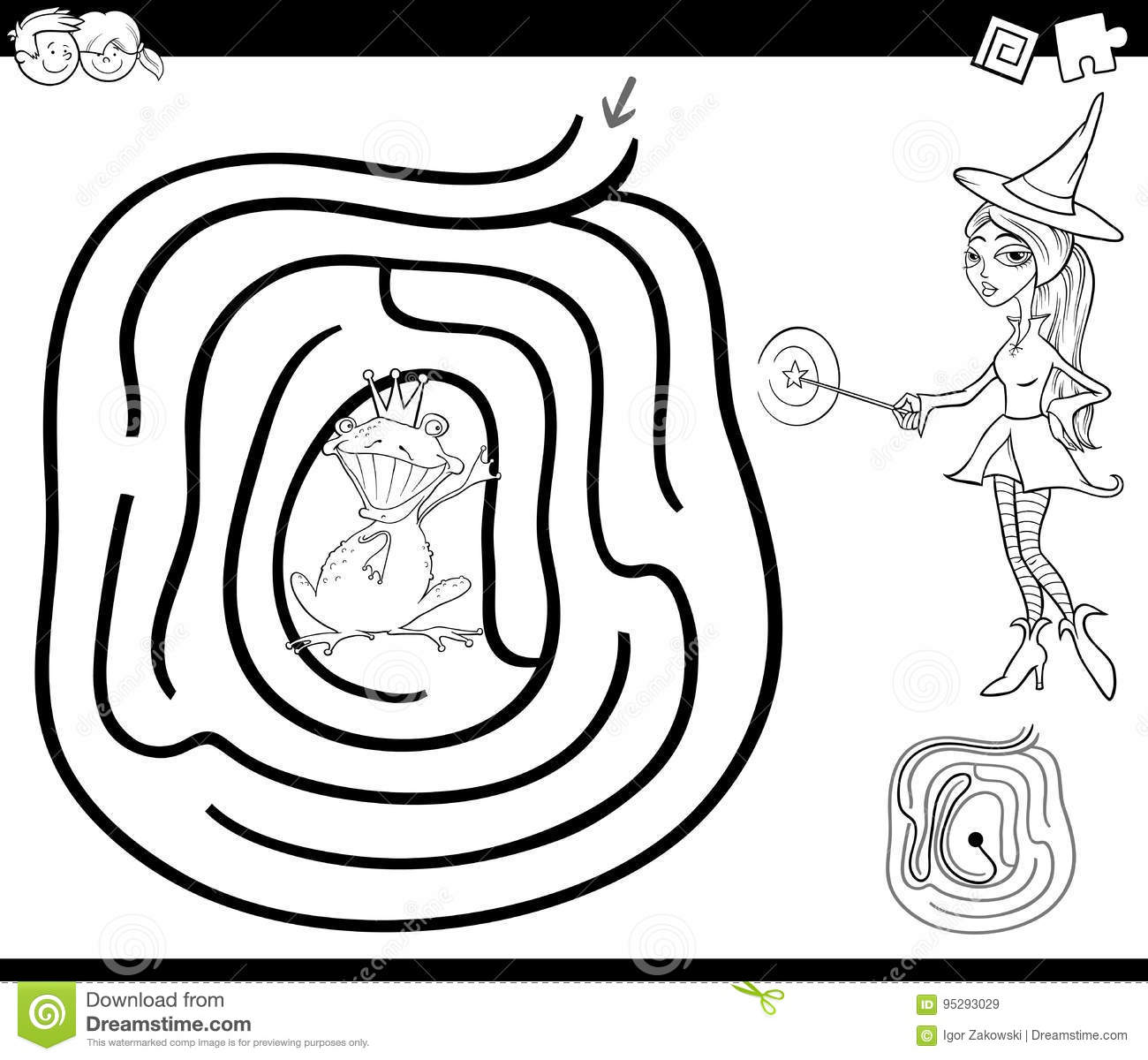 Fairy tale maze coloring page stock vector illustration of