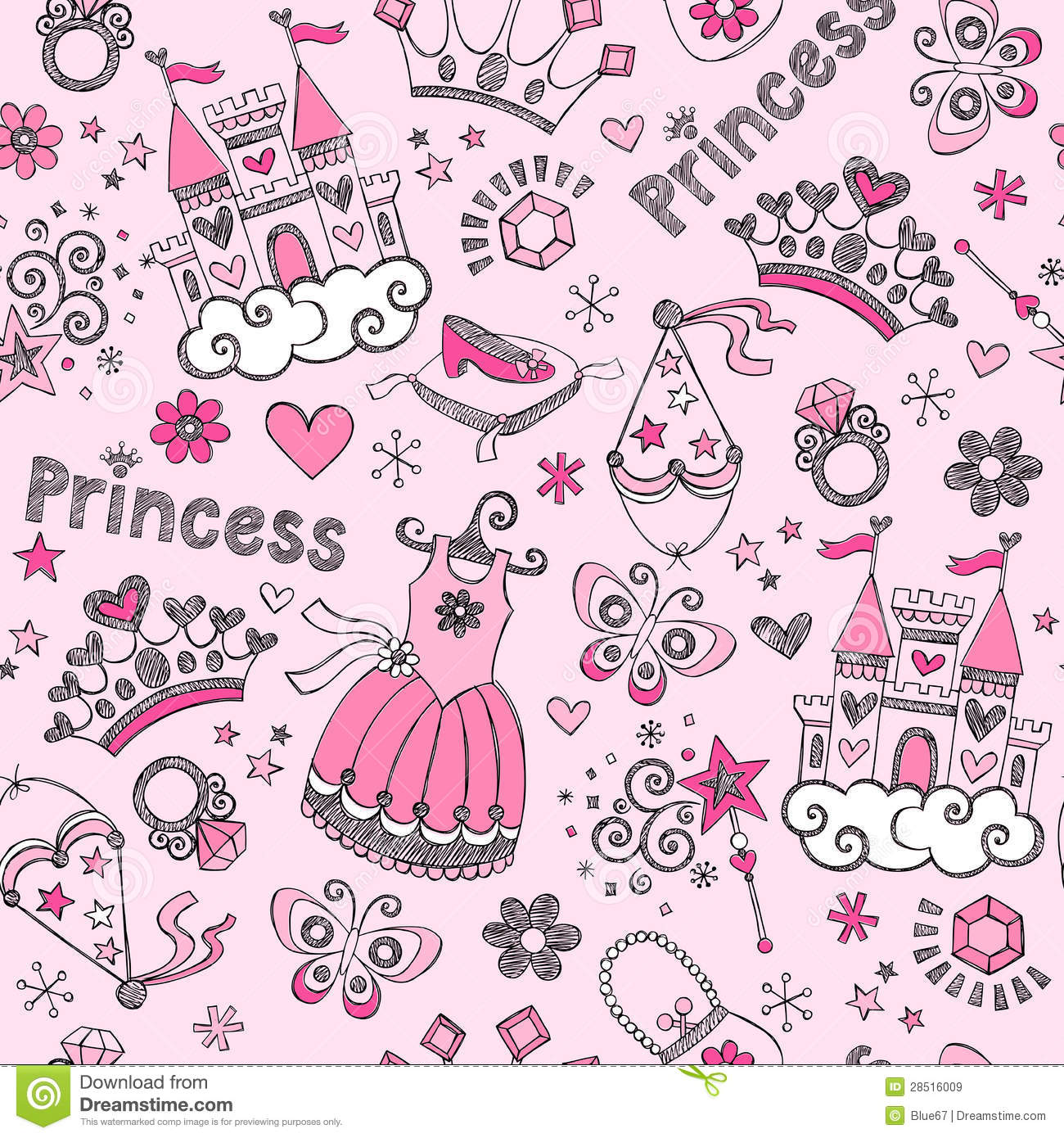 Fairy Tale Princess Pattern Sketchy Doodles Vector Royalty ...